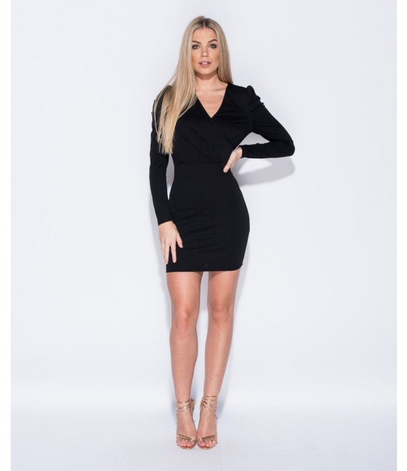 Puffed Sleeve Wrapped Front Bodycon Dress