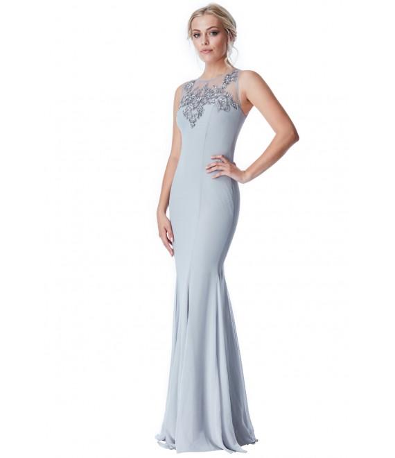 Stella Chiffon Maxi Dress with Embellished Top Grey