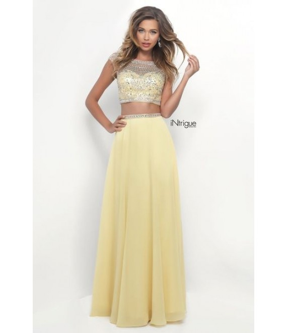 Style 272- Two Piece Dress Fully Embellished Top in Yellow