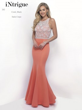Style 262 Fully Beaded Top With Satin Crepe Skirt Maxi Dress