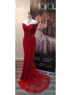 Anna- Off Shoulder Jersey Detailed Back Emerald Red