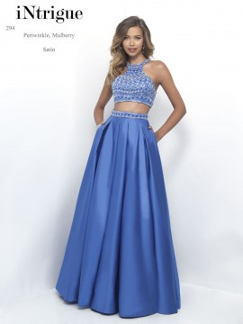 Style 294 Two-Piece Maxi Dress Beaded Top Satin Skirt In Mulberry & Periwinkle