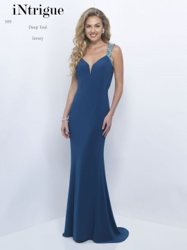 Style 309 V-Neck Sheer Beaded Back Jersey Maxi In Deep Teal