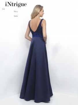 Style 310 V-Neck Fully Beaded Top Satin Skirt Full Length Maxi Dress In Navy