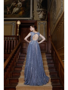 Moonlight- Fully Beaded Haute Couture Ball Gown In Electric Blue