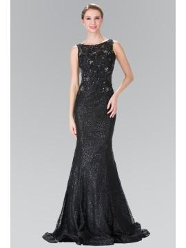 Alyssa Black Sequin Embellished Lace Dress with Sheer Back
