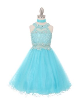 Lili Dazzling halter neck laced with hand beaded rhinestone tulle dress Aqua