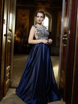 Aria- Ball Gown With Full Skirt Embellished Beaded Top In Navy