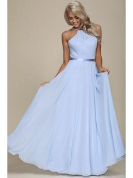 Amy Chiffon Maxi Dress with Lace-up back Baby Blue. Pink, Mint