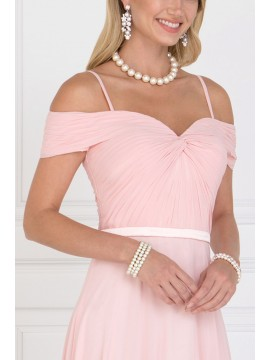 Katy Chiffon Maxi Dress with Ruched Sweetheart Top Blush