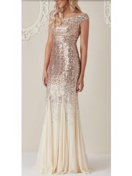 Champagne Sequined Chiffon Maxi Dress Size 8-16uk
