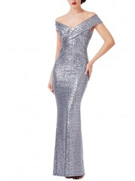 Amelia Sequin Maxi Dress in Silver