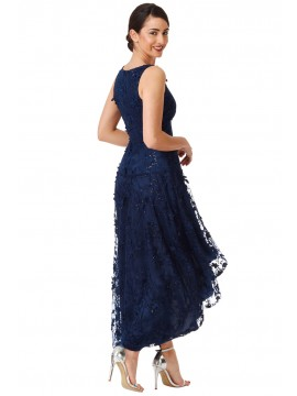 Floral Lace Asymmetric Dress In Navy