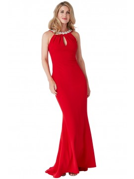 Emily Fishtail Maxi Dress With Open Back And Waterfall Frills Red