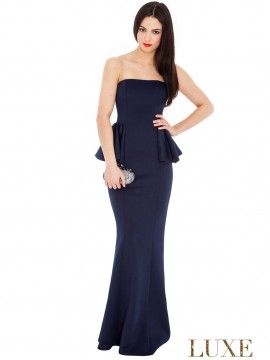 Alana- Bustier Maxi Dress Plain And Sophisticated In Navy