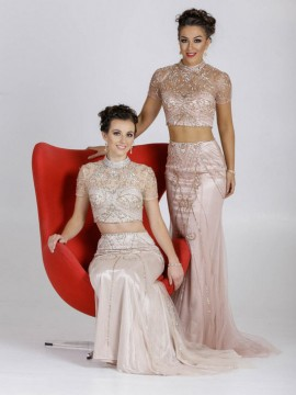 Flora- Two Piece Maxi Sequin Embellished Dress With Train In Beige, Nude