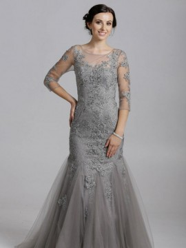 Jessica- Mermaid Detailed Lace Tulle Maxi Long Sleeves Open Back In Grey, Ivory, Nude