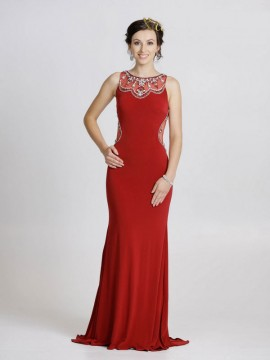 Laila- Sheer Embellished Back And Sides Detailed Neckline Jersey Maxi In Red, Navy
