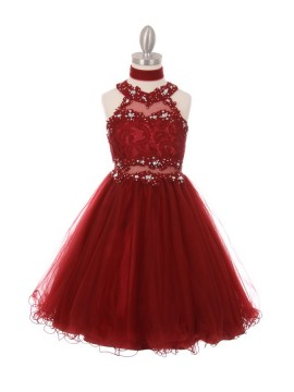 Lili Dazzling halter neck laced with hand beaded rhinestone tulle dress Burgundy