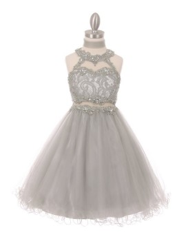 Lili Dazzling halter neck laced with hand beaded rhinestone tulle dress Blush