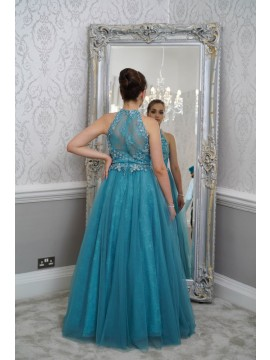 Lucy- Embellished Lace top Tulle Full Skirt Maxi With Beaded Sheer Back In Teal, Champagne
