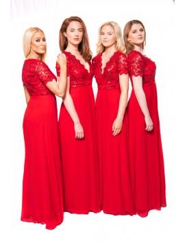 Ella Chiffon Sequin Maxi Dress in Red, Nude