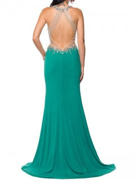 Marilyn- Jersey Maxi Dress Embellished Top And Open Back In Light Green