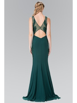 Melanie Open-Back Jersey Long Dress Accented with Side Embroidery