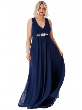 Layla V Neck Embellished Chiffon Maxi Dress Plus Size Collection 18-26uk