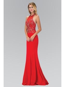 Olivia Jewel Embellished Halterneck Floor Length Style in Red