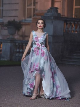 Robyn Chiffon High Low Floral Ball Gown Detailed V Neck Bodice Rose