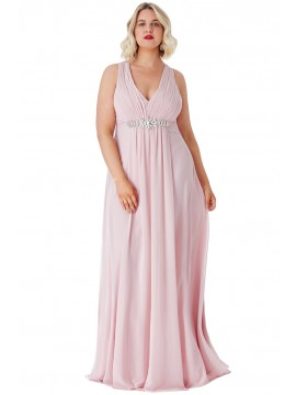 Layla V Neck Embellished Chiffon Maxi Dress Plus Size Collection Rose18-26uk