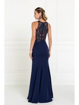Sarah Charmeuse Mermaid Long Dress with Beads and Sequin Embellished