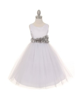 Blossom Elegant Simple Satin Tulle Dress with Petals Ribbon Silver Sash