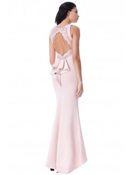 Sophia Open Back Lace Maxi Dress with Frill Detail Blush