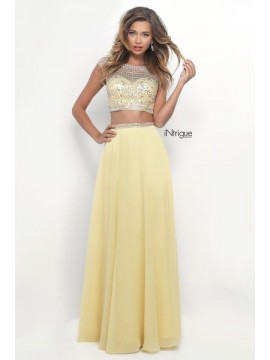 Style 272- Two Piece Dress Fully Embellished Top in Yellow- 08
