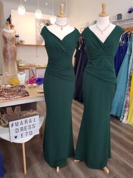 Ava Crepe Maxi Bardot neckline Pleating Detail Maxi In Emerald Green